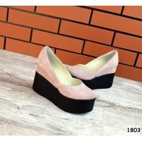 Туфли женские на платформе кожаные /замшевые цвета разные 0018КОМ