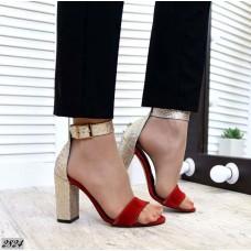 Блестящие босоножки на каблуке кожа/замш 2833ТОПС