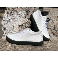 Кожаные туфли мужские на шнурках кожа белые 0109ГРМ