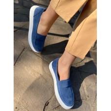 Женские слипоны кожаные белые/синие 0096СЗ