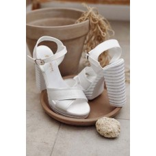 Белые босоножки на толстом каблуке кожа 0011ЛНМ
