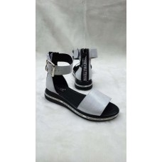 Босоножки женские без каблука кожа/замша 0120КОМ
