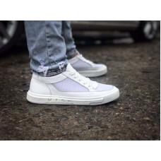 Спортивные туфли мужские кожаные белые 0048ГРМ