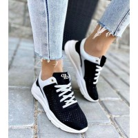 Женские кроссовки черные и серые 3226ТОПС