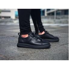 Кеды кожаные мужские оригинальная шнуровка черные 0129ГРМ