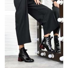 Ботильоны женские на толстом каблуке кожа/замша 3358ТОПС