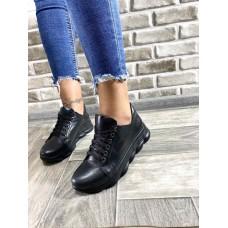 Женские кроссовки демисезонные кожа/замша черные 0716УКМ