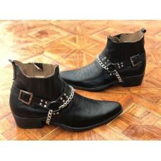 Ботинки мужские кожаные казаки деми черные B0051