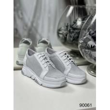 Женские кожаные кроссовки сетка черные/белые 90061