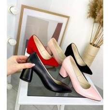Женские туфли лодочки на каблуке кожа/замш TOPs4482