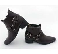 Ботинки-казаки мужские зимние кожа, натуральный мех черные/коричневые 0035БМ