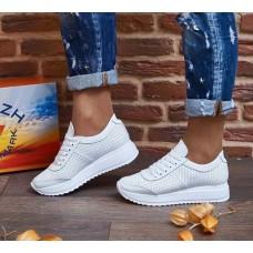Белые кожаные кроссовки женские с перфорацией 0146КОМ