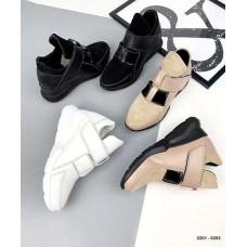 Женские высокие кроссовки на липучке кожа+замш 5203ТОПС