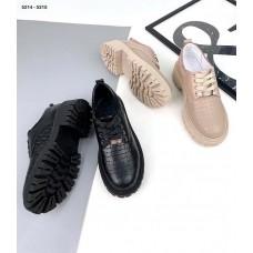 Женские  туфли броги натуральная кожа черные и бежевые 5214ТОПС