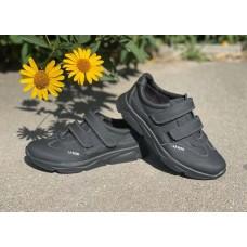 Детские туфли черные на липучках кожа р-ры 32-41 0748УКМ