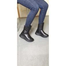 Зимние высокие ботинки женские без каблука  кожа/замш LEX0042